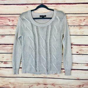 Rock & Republic Neutral Knit Crewneck Sweater